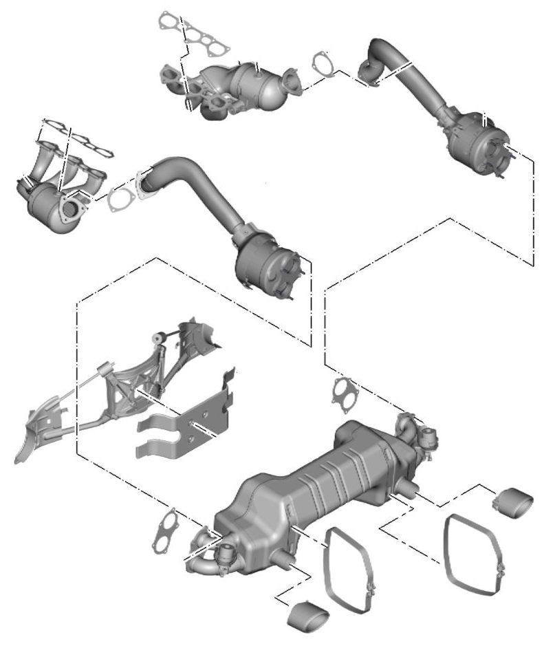 Porsche 718 4.0L exhaust system